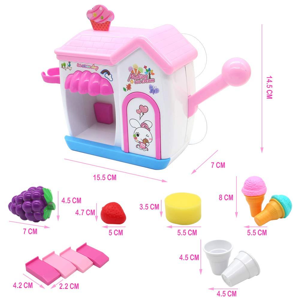 Akokie Bath Toys, Toy Ice Cream Maker Bubble Foam Play Machine Bathtub Toys 11 Pcs Pretend Play for Children 18 M+