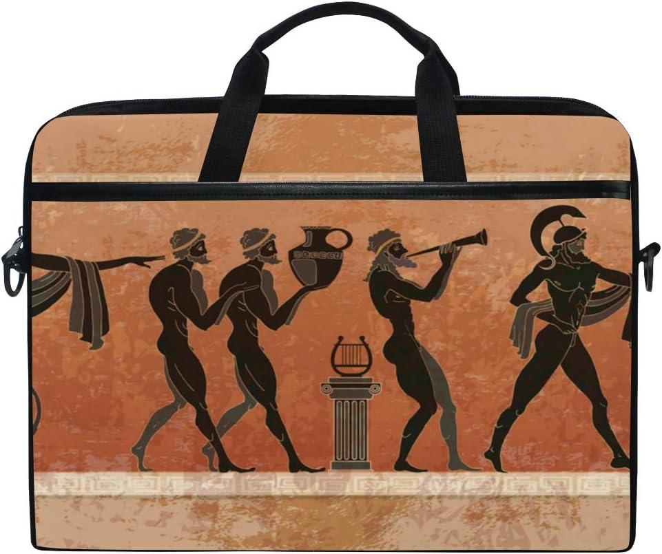 Briefcase Messenger Shoulder Bag for Men Women College Students Busin Laptop Bag Ancient Greece Scene Black Figure Pottery 15-15.4 Inch Laptop Case