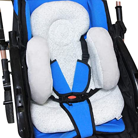 vocheer Baby Stroller Cushion 2-in-1 Infant Car Seat Neck Support Cushion with Liner Head and Body Support Pillow for Baby 0-12 Months Grey
