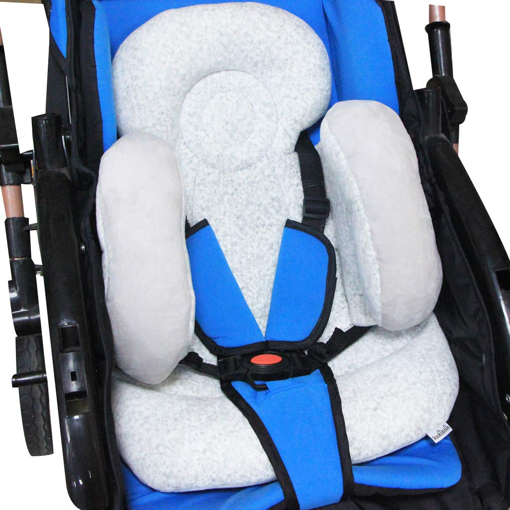 and Toddlers Reversible Pure Cotton Universal Baby Seat Cushion for Stroller Infants Supports Newborns Baby Head Support Pillow for Head Neck Support Grey Usning Baby Stroller Cushion Pad