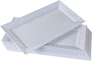 "DISPOSABLE LACE TRAYS | for Upscale Wedding and Dining | 6 pc | White | 14"" x 7.5"" - 1925"