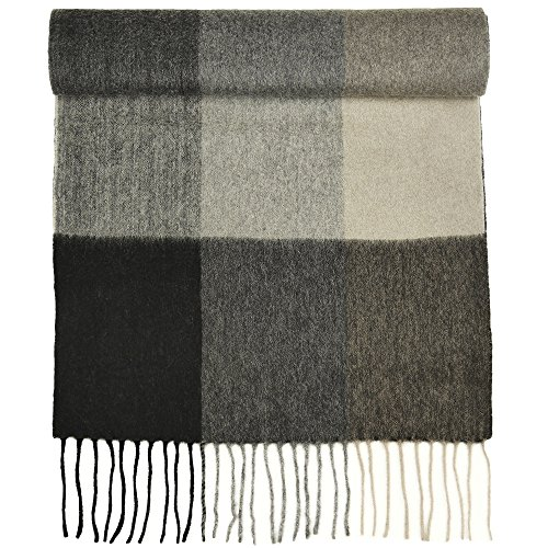 (100% Pure Cashmere Scarf for Women, Solid Colors and Plaids, Unisex, Gift Box, Various Sizes, by Candor and Class (Grey Boxes))