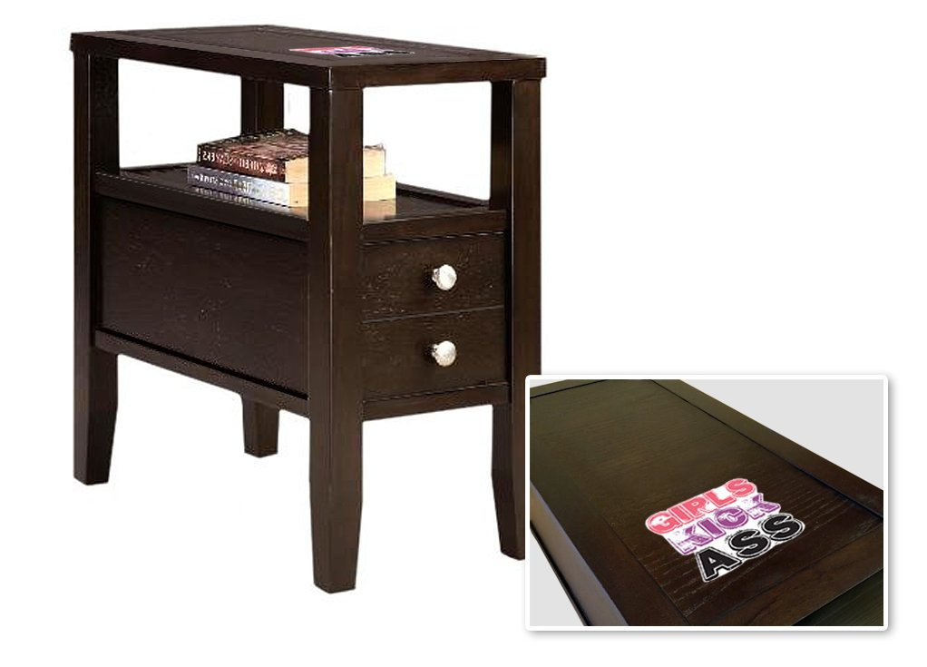 New Cappuccino / Espresso Finish Wooden End Table Night Stand with Drawer featuring Kickass