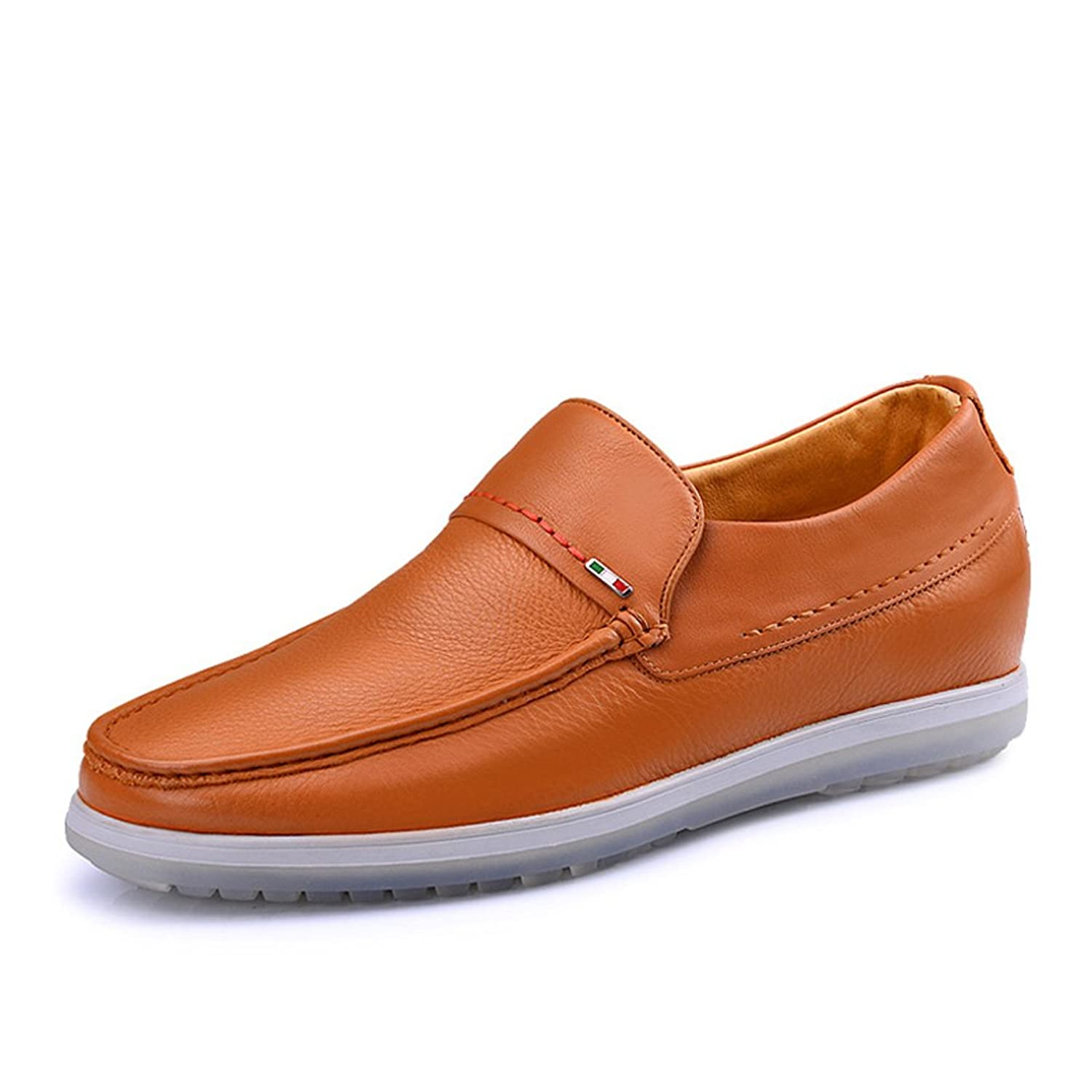 2.36 Inches Taller-Men's Comfort Driving Car Shoes Soft Leather Flats Loafers Casual Walking Shoes Yellow