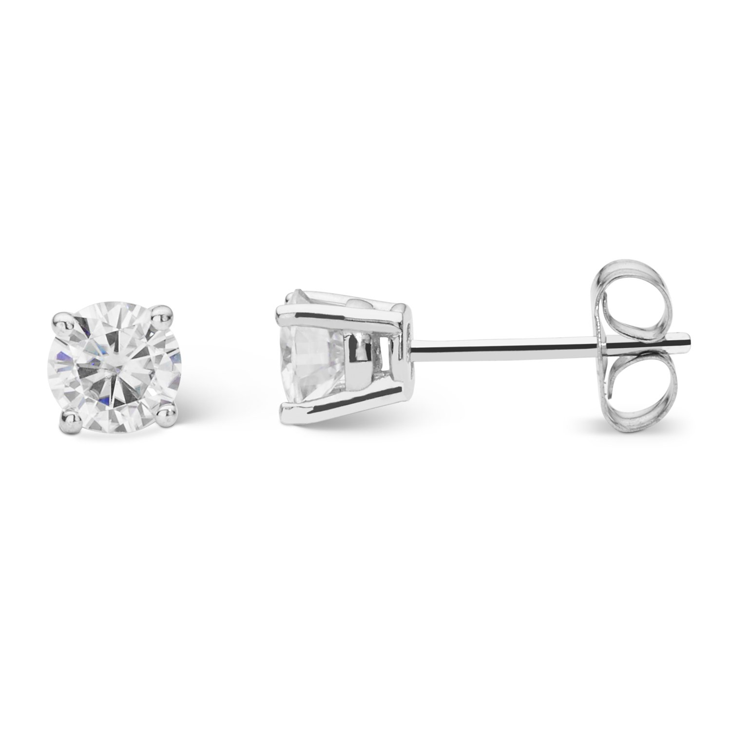 pin set stone beautiful a stud vintage scroll these earrings center in featuring moissanite
