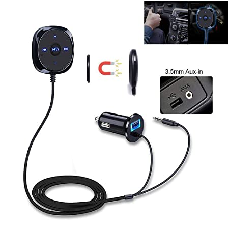 i-Sonite Innovation Auto Bluetooth Freisprecheinrichtung Audio Empfänger Adapter 3,5mm AUX Port Jack Stereo 2.1A USB Ladegerä