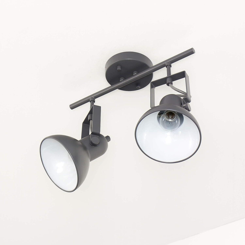 Strahler für Innen Schwarz Metall Retro 36cm lang 2x E14 DALLAS Spot Lampe Wohnzimmer Flur Anthrazit