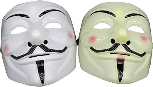 V For Vendetta Face Mask Guy Fawkes Halloween Party Masquerade Anonymous Ivory