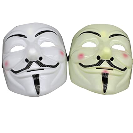 XZLIN 2 Pieces Guy Fawkes Anonymous V for Vendetta Costume Maskk,V Vendetta Yellow and