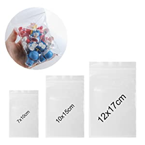 ANWING 300 Pack Clear Reclosable Plastic Poly Bags Thick Poly Ziplock Bags, Food Grade Safe Self Sealing OPP Poly Bags Zipper Baggies for Jewelry, Candies, Coin, Pill Etc (3 Assorted Sizes)