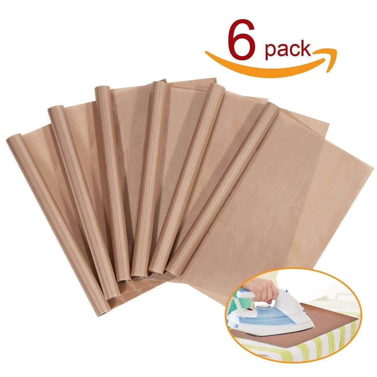 """Yesker YES-43 PTFE Teflon Press Transfers, 16 x 20"""" Heat Resistant Craft Sheet, 100% Non Stick Protects Iron and Work Area (6-Pack), Brown"""