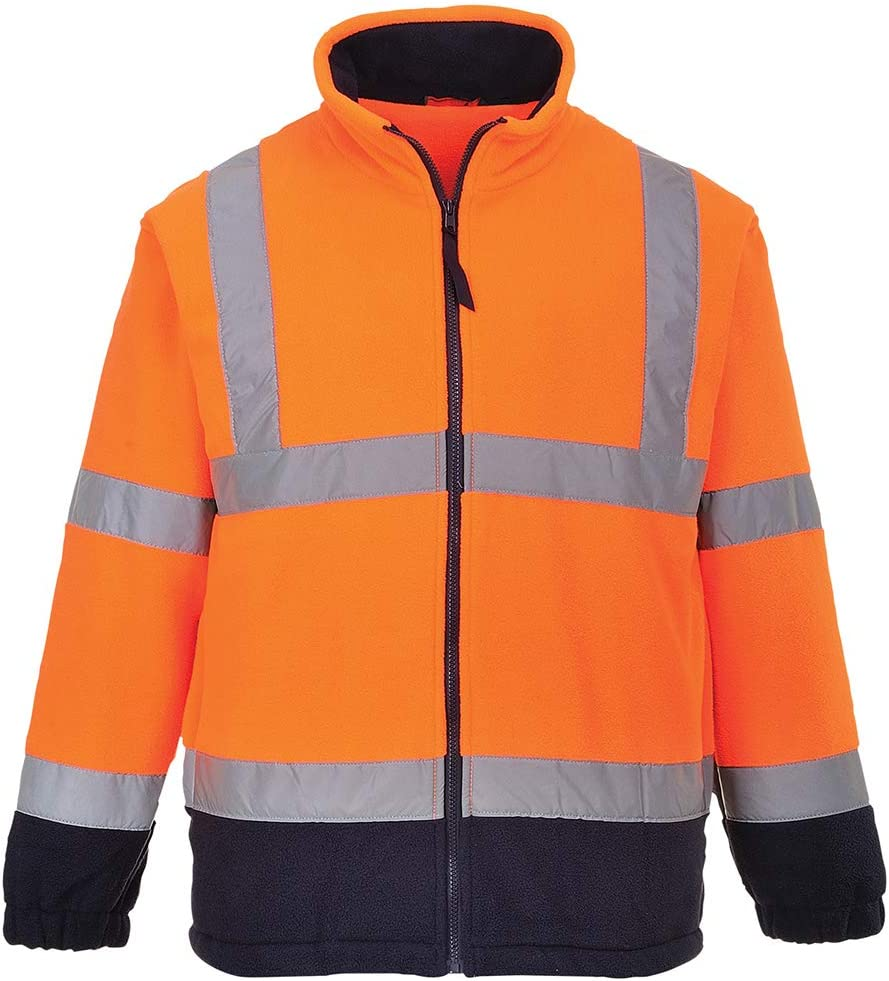 Regular 3X-Large Orange Portwest F301ONRXXXL Hi-Vis Two Tone Fleece