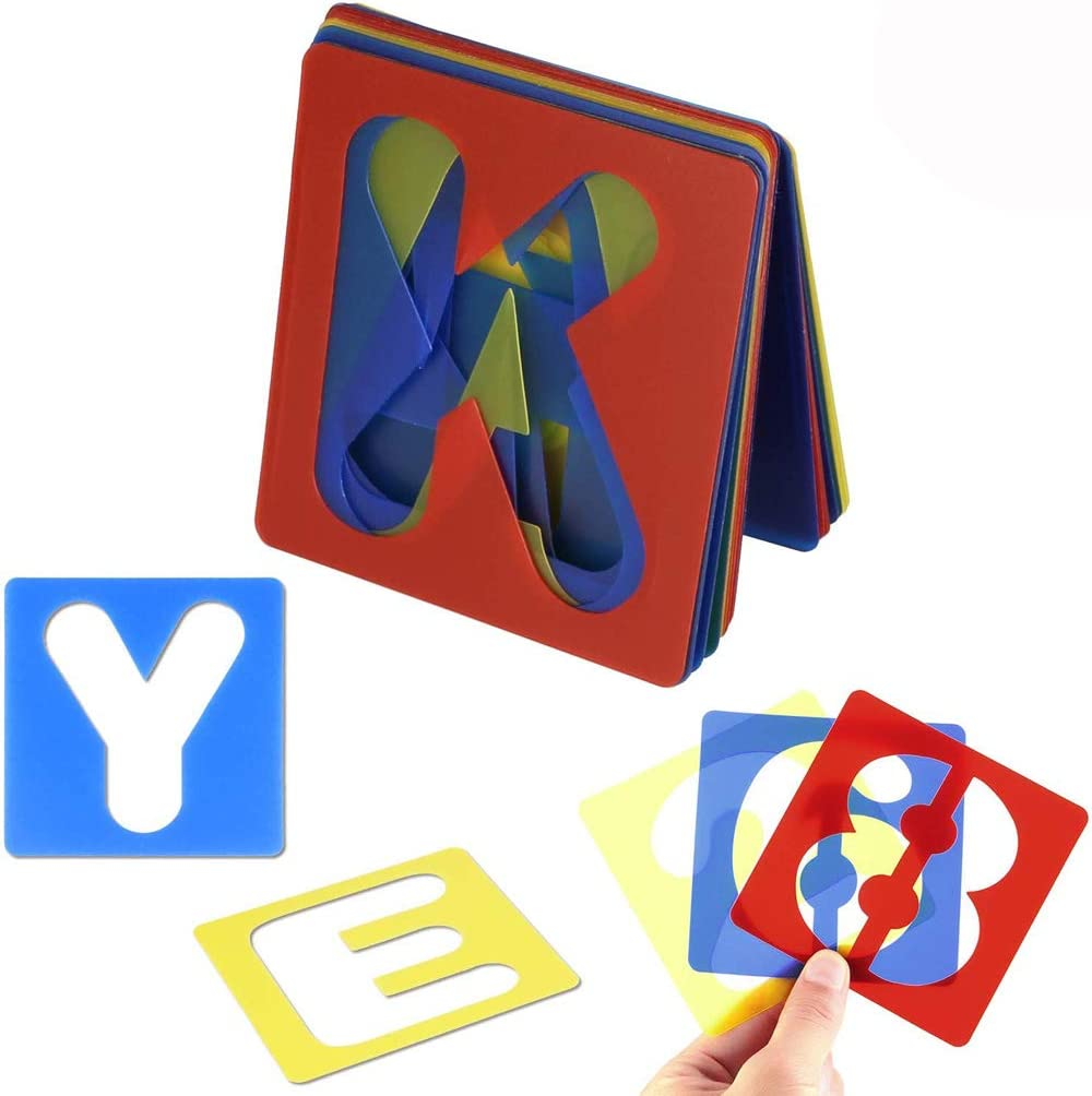 DIY Craft Decoration 3.94 x 3.94 Inches Emoly 36 Pieces Alphabet Stencils and Number Stencils Set Plastic Letter Stencils for Painting Learning