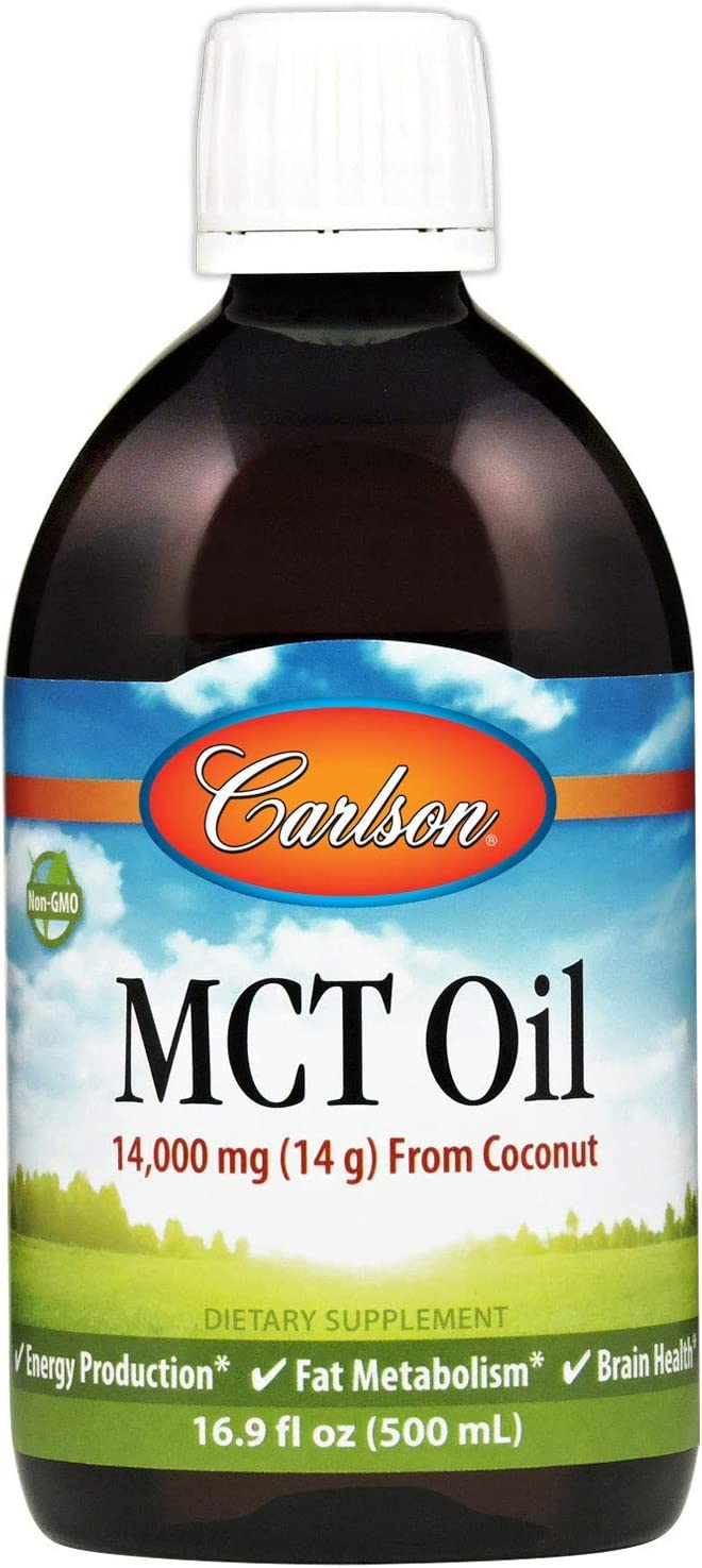 Carlson - MCT Oil, 14000 mg (14 g) MCTs, from Coconut, Caprylic & Capric Acids, Energy Production, Fat Metabolism, 500 mL (16.9 Fl Oz)