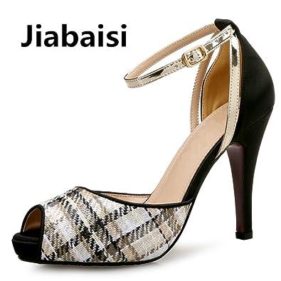 7503866e09 Amazon.com | jiabaisi Shoes Women Sandal Woven Grid Platform Heels Peep Toe  Stilettos Large Size Party Fashion Classic Women Sandals | Heeled Sandals