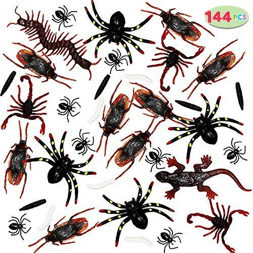 (JOYIN 144 Pieces Plastic Realistic Bugs - Fake Cockroaches, Spiders, Scorpions and Worms for Halloween Party Favors and)
