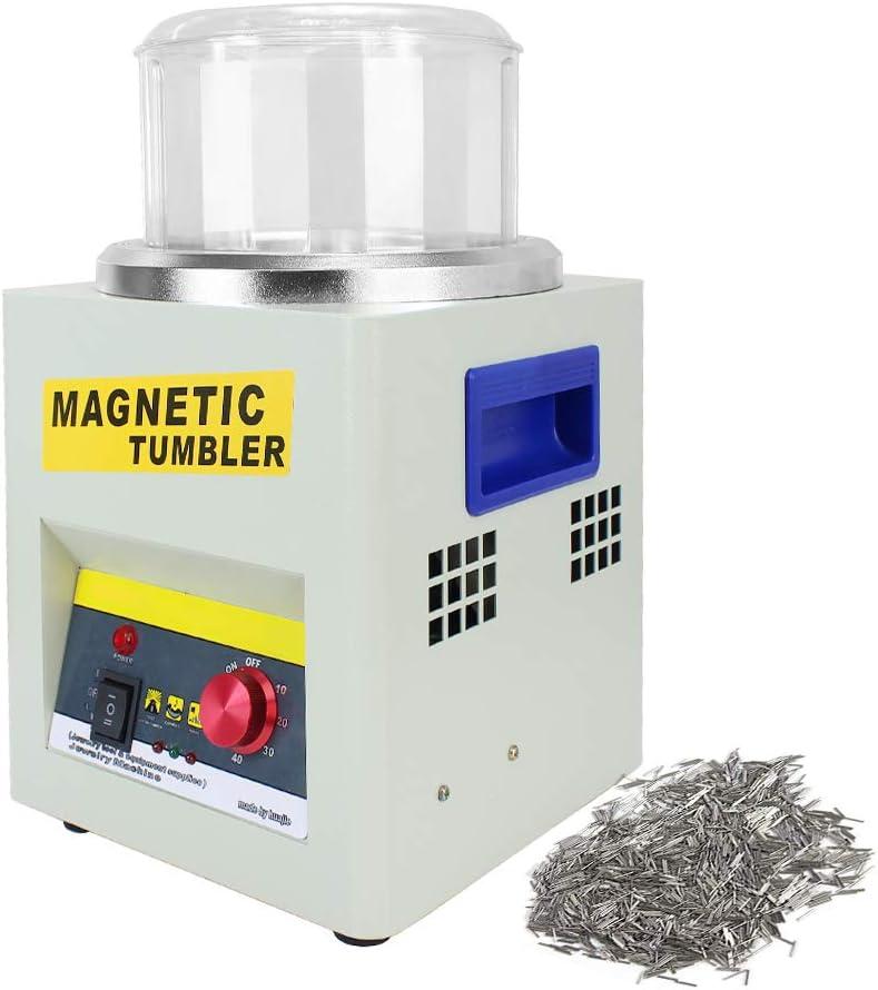 US Stock FASTTOBUY Magnetic Tumbler 180MM Large Capacity Jewelry Polisher Tumbler 2000 RPM Deburring Polishing Finisher Machine for Metal Gold Silver Aluminum 110V
