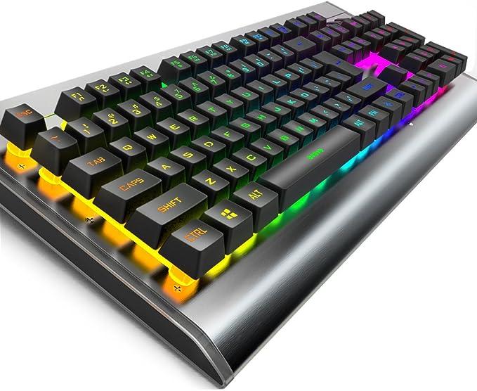 OJA Teclado retroiluminado multicolor LED para juegos, Rainbow 7 colores control de voz iluminado teclado de ordenador con cable rojo y colorido luz ...