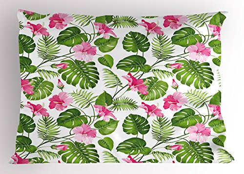 (Lunarable Leaf Pillow Sham, Hawaiian Hibiscus Crystal Pink Flower with Palm Tree Leaves Art Print, Decorative Standard Size Printed Pillowcase, 26