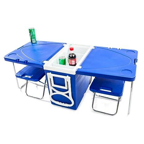 Plegable Multi Función Rolling Cooler 24L con mesa y 2 ...