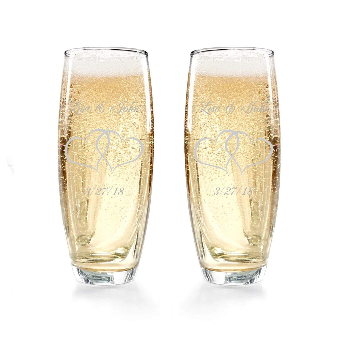 Gifts Infinity Engraved Wedding Stemless Champagne Flutes Set of 2 Personalized Toasting Glasses (Interlock)
