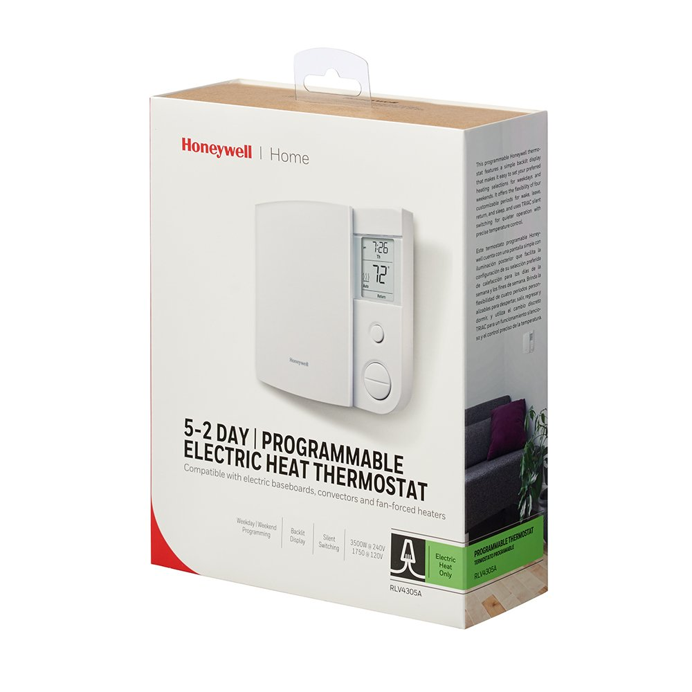 Honeywell Rlv4305a1000 E1 E 5 2 Day Programmable Multiple Baseboard Heater Wiring Thermostat 240 V 1 Deg F Household Thermostats