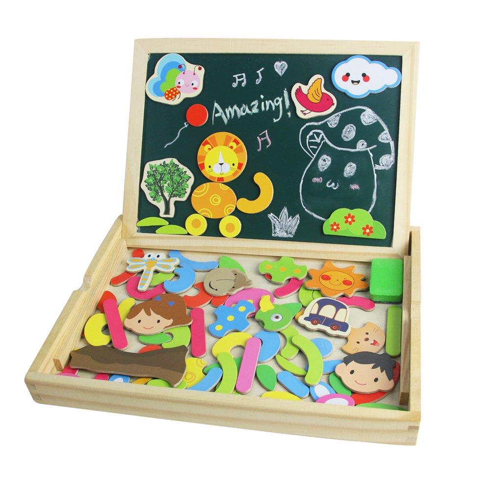 Lavagna Magnetica per Bambini Puzzle Legno Magnetico lavagna double face Gioco e Giocattoli per Natale 3 4 Anni