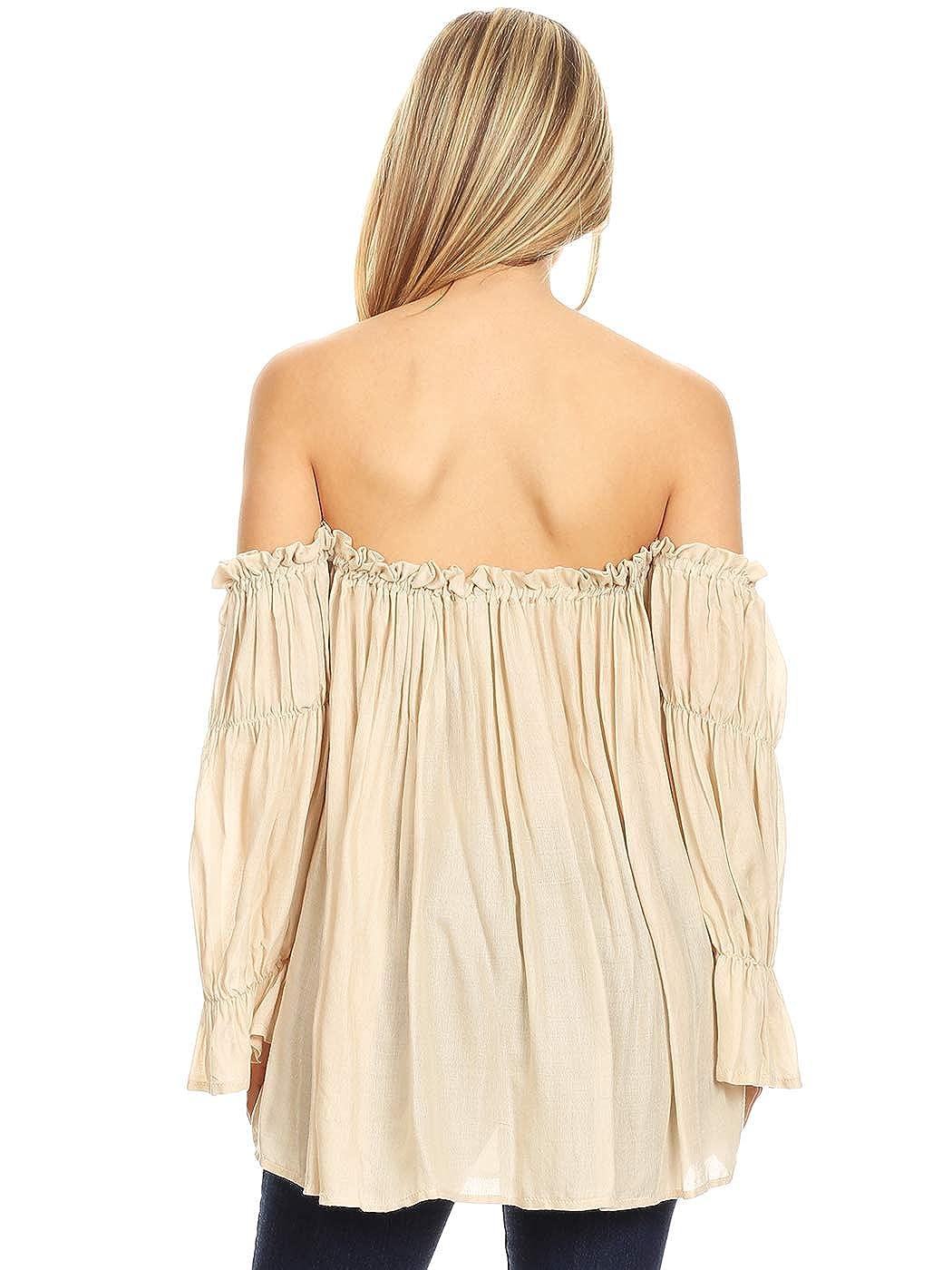 903490902e3 Anna-Kaci Womens Semi Sheer Boho Peasant Long Sleeve Off The Shoulder Top  at Amazon Women's Clothing store: