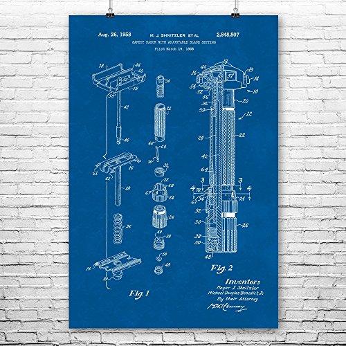 "Patent Earth Gillette Fatboy Bottom Dial Safety Razor Poster Print, Shaving Gift, Barber Gift, Barber Shop, Beard Grooming Blueprint (11"" x 14"")"