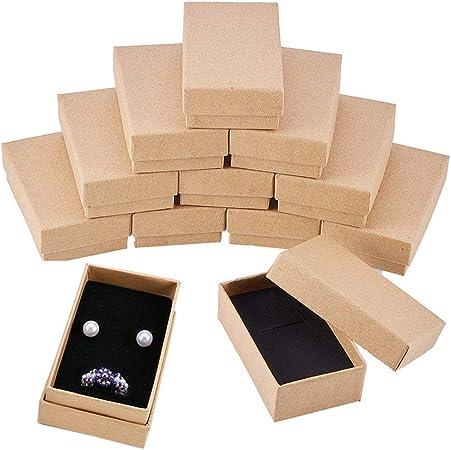 BENECREAT 24 Pack Cajas de Cartón Kraft para Collar 8x5x3cm Pequeña Caja de Regalo Rectácula de Pulsera y Pendientes Cumpleaños Boda Festival: Amazon.es: Hogar