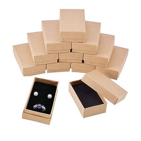 BENECREAT 24 Pack Cajas de Cartón Kraft para Collar 8x5x3cm Pequeña Caja de Regalo Rectácula de Pulsera y Pendientes Cumpleaños Boda Festival