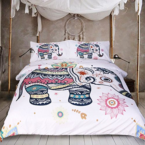 Sleepwish 3PC India Elephant Bedding Bohemia Duvet Cover Set Mandala Design Rainbow Line Art (King, - India Design Elephant