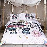 Sleepwish 3 PCS Duvet Cover with 2 Pillow Shams, Elephant Bed Set, Bohemian Bedding, Rainbow Line Art (Queen)