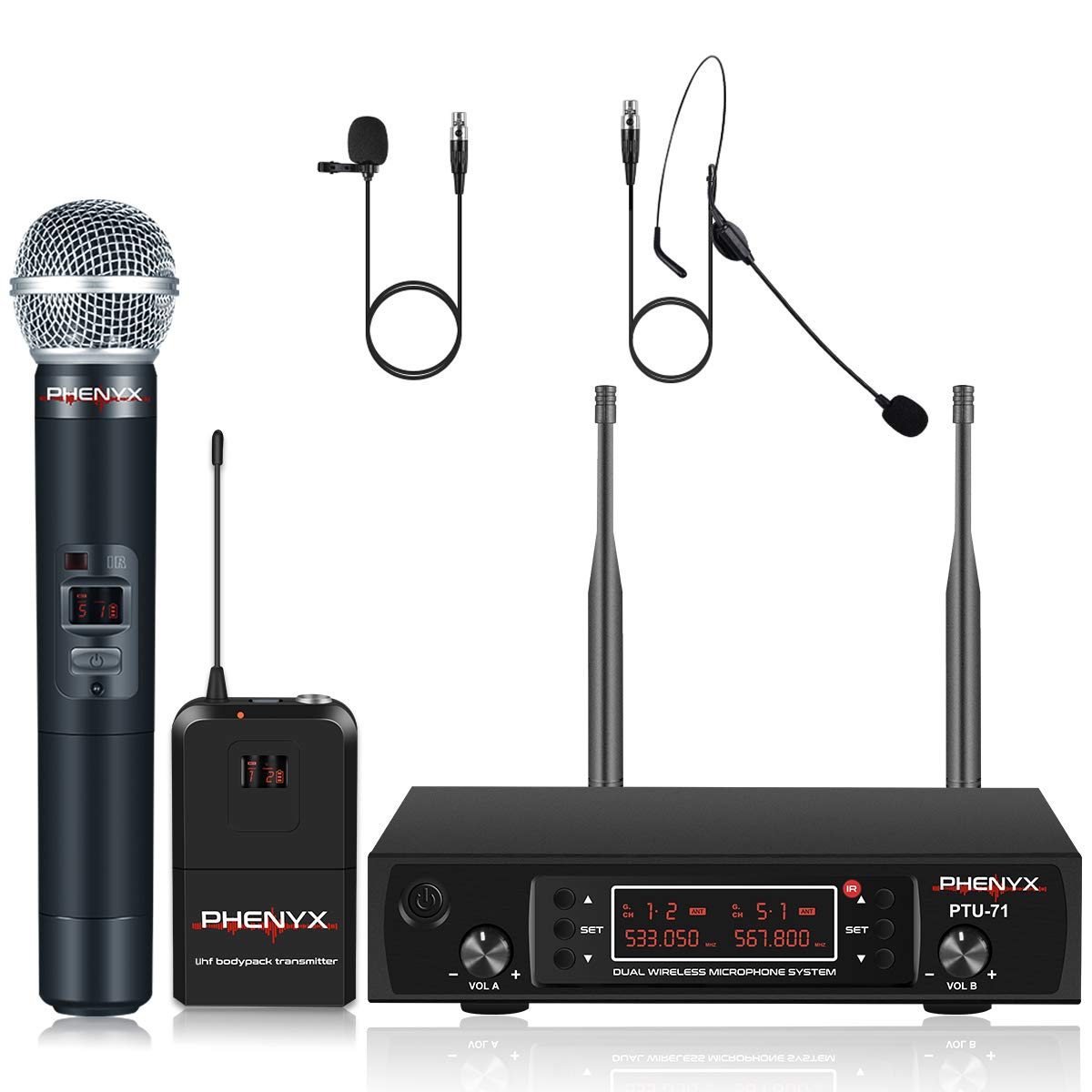 UHF Wireless Microphone System, Phenyx Pro Dual Cordless Mic Set with Handheld/Bodypack/Headset/Lapel Mics, 2x200 Channels, Long Distance Operation, Ideal for DJ, Church, Events (PTU-71B) by Phenyx Pro