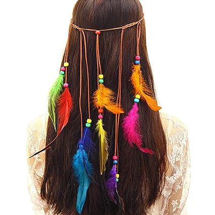 Amazon.com: Diadema de plumas Hippie indio Boho Diademas ...