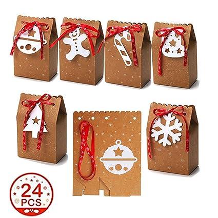 Kingsley 24 cajas de regalo de Navidad Kraft, bolsas decorativas para fiestas de Navidad, cajas de papel para dulces, suministros de decoración para ...