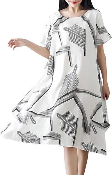 TUDUZ Vestidos Mujer Manga Corta Verano Vestido de Algodón y Lino Vestido Suelto de Gran tamaño Vestido de Dobladillo Fluido: Amazon.es: Ropa y accesorios