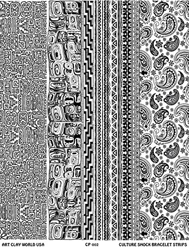 Culture Shock Full Length Texture Sheet, 10in x 2in each of Mayan Ruins, Northwest Native, Woven Cloth, and Paisley. by Art Clay World USA Low Relief Texture Plate