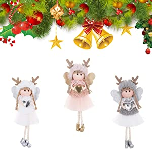 Christmas Decoration 3 Pieces Angel Doll Pendant Tree Hanging Ornaments,Christmas Crafts Elves Decorations Pink,Grey and White (Angel-Elk)