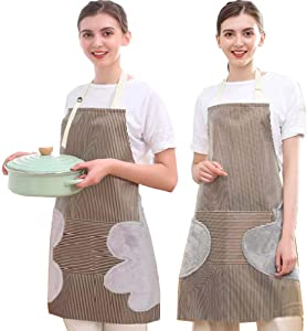 K Y KANGYUN Adjustable Waterproof Bib Aprons with Pockets-2 Side Coral Velvet Towels Stitched, Dishwashing Aprons Polyester Cleaning Aprons for Women Men (Coffee)