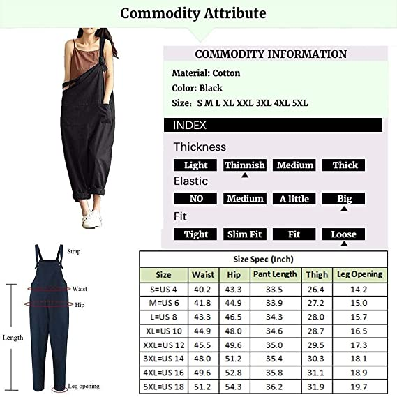 93dae26059fb Amazon.com  Women s Plus Size Baggy Casual Wide Leg Sleeveless Cotton  Rompers Jumpsuit Vintage Haren Overalls  Clothing