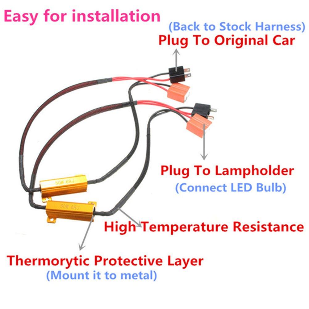 Soldmore7/2/x 50/W 6OHM LED Resistenza di carico Lampadina LED Faro lampadine luci Canceller d Avvertimento luci frecce per Fix Fast Hyper Flash di Segnalazione Blink codice di Errore