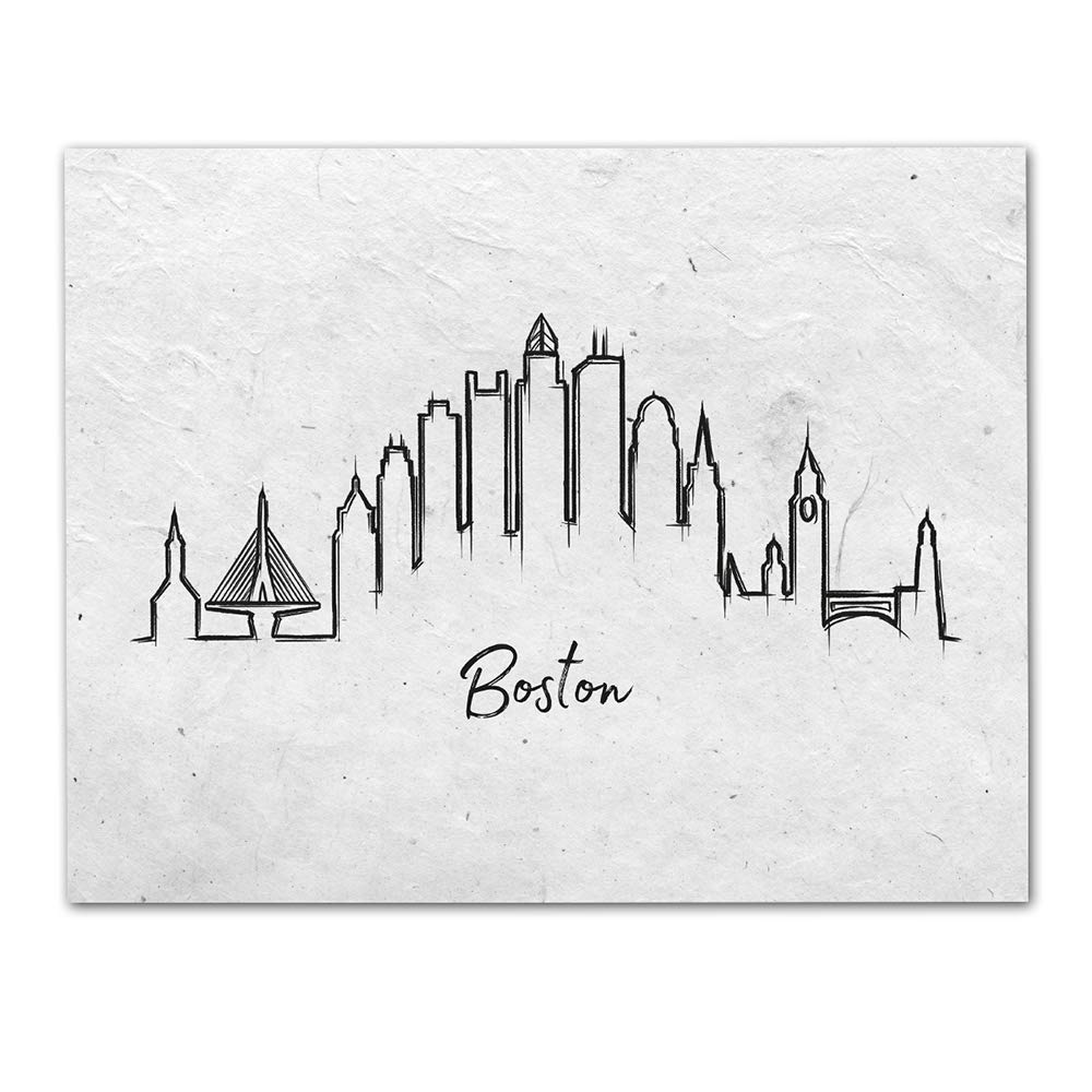 Boston City Skyline Wall Art - Unframed 11 x 14 Black & White Lineart Print - Makes a Great Gift for Friends and Family
