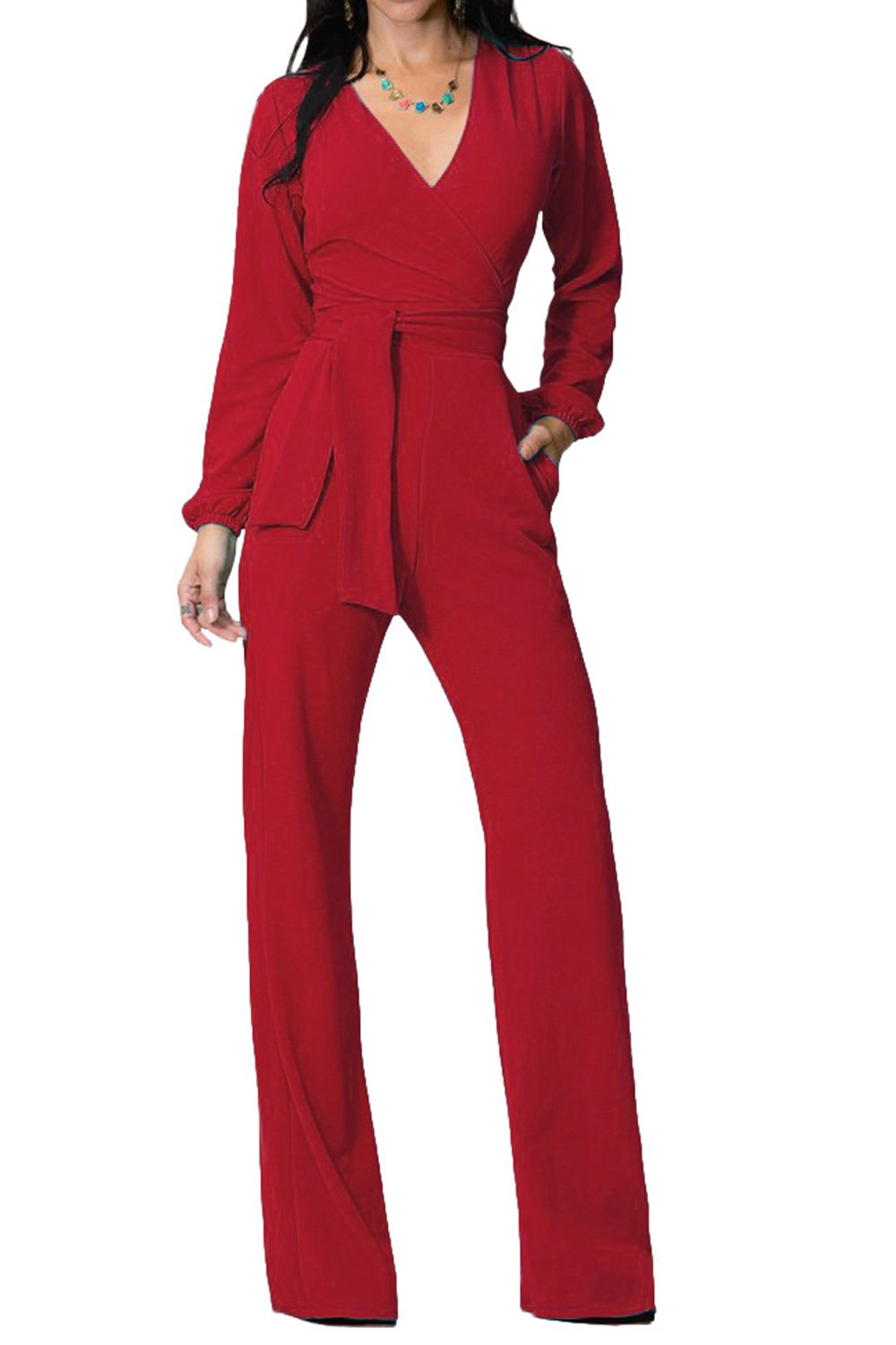 Zilcremo Women Elegant Long Sleeve V Neck Full Lined Wrap Jumpsuits Overall CAFZ702