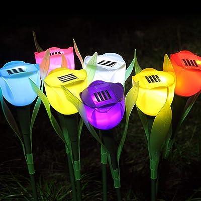 KOOYUTA Outdoor Solar Garden Lights - 4 Pack Solar Powered Lights, Multi-Color Changing LED Solar Stake Lights for Garden, Patio, Backyard (Tulip Flower) (Pink) : Garden & Outdoor