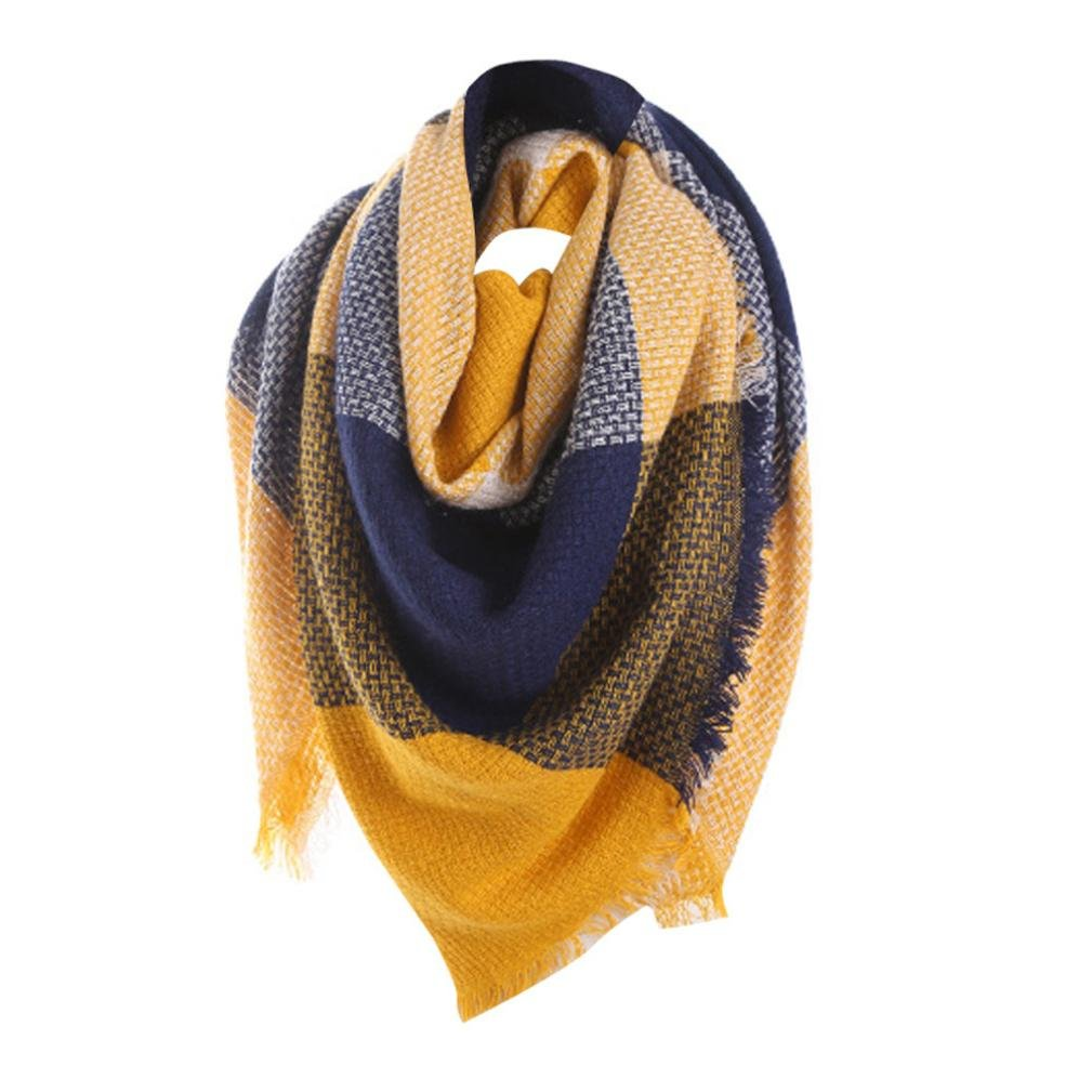 Sonnena Women Colorful Stitch Long Cashmere Wool Shawl Plaid Neck Scarf