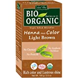 Indus Valley BIO Organic Light Brown Henna Hair Color For Grey Hairs-100gm