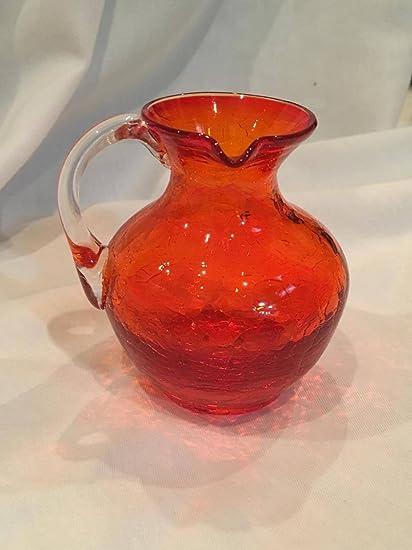 Amazon Vintage Small Kanawha Glass Company Redorange Crackled