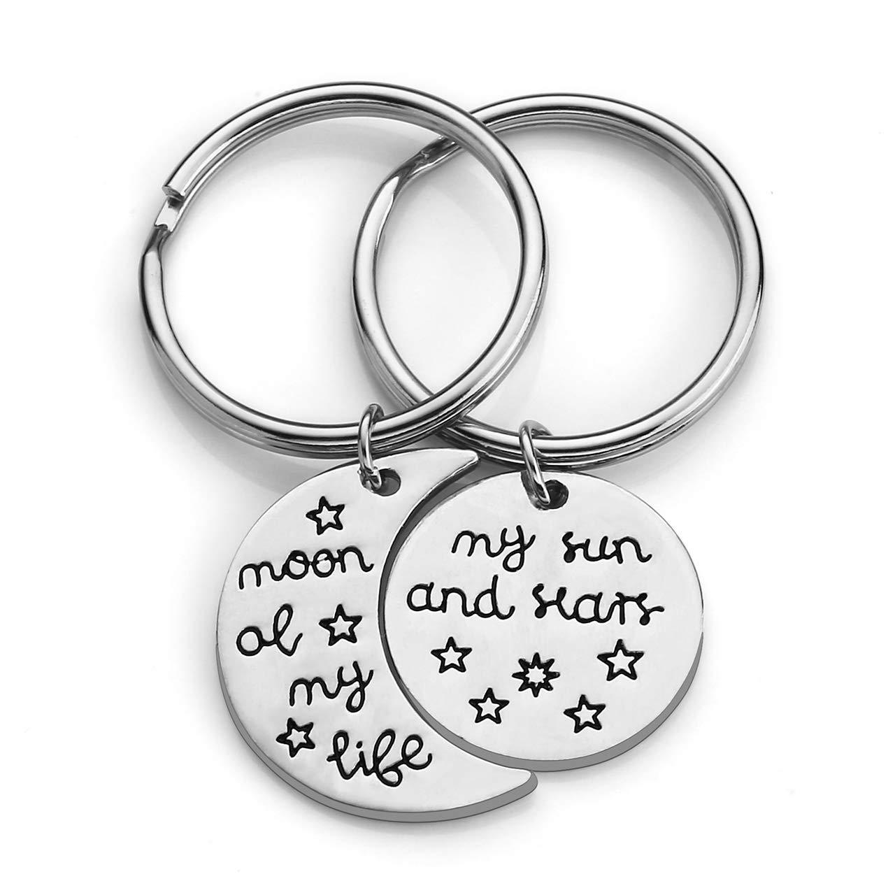 Plateado - TTUK4992 Couples Keyrings Color Plateado Llavero para Parejas con dise/ño de Luna de mi Vida y Estrellas Jovivi