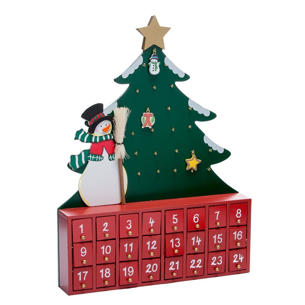 Kurt Adler Wooden Snowman with Tree Advent Calendar C6117